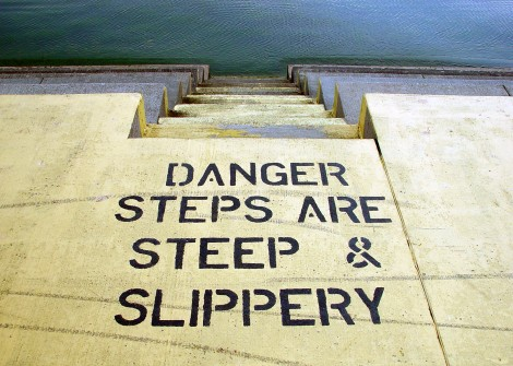 file00016079529danger steps steep slippery warning caution sign careful