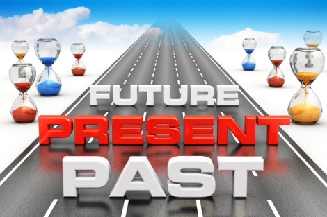 Business vision hourglass future present past highway