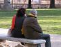 Elder old cold park bench thoughtful seniors concerned
